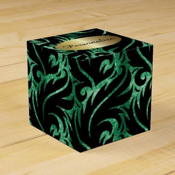 Green Glitter and Black Designed Favor Box