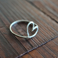 Sterling Silver Open Heart Ring - Minimalist Ring - ALL SIZES