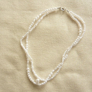 White Pearl Double String Necklace