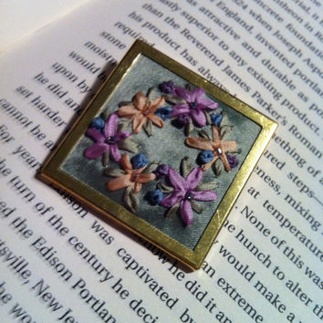 Pastel Embroidered Flower Beaded Brooch  by BeanTownEmbroidery