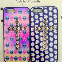 Studded Silver Cross Iphone 5 5S Phone Case Emoji Alien Floral Print Hipster Phone Cover