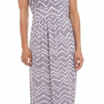 Grey & White Printed Maxi Dress