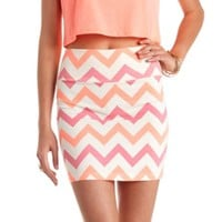 CHEVRON PRINT BODYCON MINI SKIRT