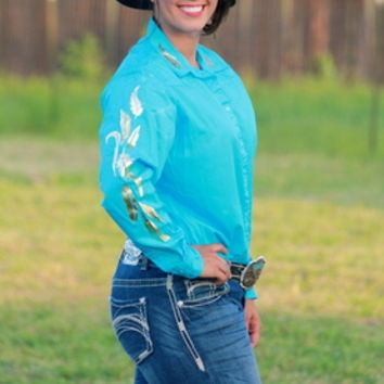 Turquoise rodeo shirt with gold feathers from ranch dress for Ranch dress n rodeo shirts