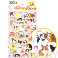 Adorable Dog Shaped Animal Puppies Pet Themed Puffy Stickers | Cute Animal Themed Scrapbook Decorating Supplies
