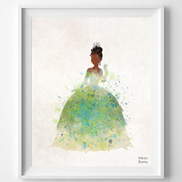 The Princess and the Frog, Tiana Disney, Watercolor Print, Poster Art, Illustration, Giclee Wall, Kid Nursery, Home Decor [NO 354]