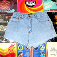 Vintage Denim Cut Offs - 90s ULTRA Light Wash Jean Shorts - High Waisted/Frayed/Lightweight/Distressed EDDIE BAUER Shorts - Misses Size 14