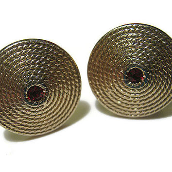 Gold Tone Vintage Red Rhinestone Cuff Links
