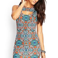 Cutout Floral Sheath Dress