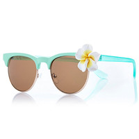 Light green flower trim retro sunglasses - retro sunglasses - sunglasses - women