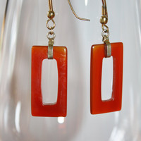 Carnelian Glass Hoop Earrings Vintage 1970s  Jewelry