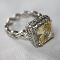Sterling Lemon Yellow Topaz Ring CZ Cocktail Vintage 1980s  Silver Jewelry