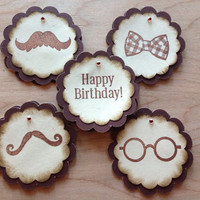 10 Tags / DIY Cupcake Toppers / 10 Gift Tags for Men Birthday/ Mustache and Bow-ties