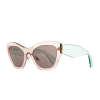 Miu Miu Clear Plastic Cat-Eye Sunglasses, Pink/Green