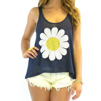 Fresh Picked Navy Daisy Tank
