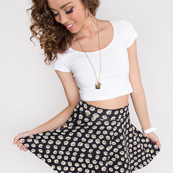 Daisy Hour Skater Skirt - Black