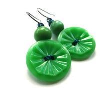 Bright Kelly Green Vintage Button Dangle Earrings