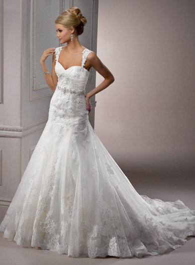 Ivory Lace over Satin Sweetheart Cap Sleeve Drop Waist Sarchi Wedding Gown - Unique Vintage - Cocktail, Evening, Pinup Dresses