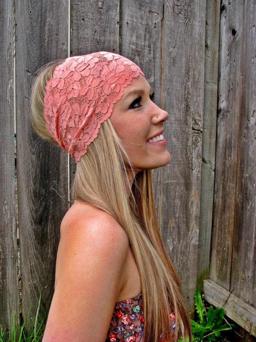 Wide Stretch Lace Headband In Coral (Pastel Peach) | Luulla
