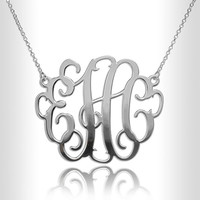 "Sterling Silver 1.2"" Necklace Custom Made Initials Monogrammed Necklace Monogram Name Jewelry nameplate"