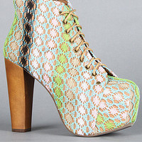 Jeffrey Campbell The Lita Shoe in Tan Pastel Multi Macrame : Karmaloop.com - Global Concrete Culture