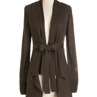 Long Sleeve Coastal Cafe Cardigan in Chocolate