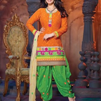 Alluring Orange & Green Printed Salwar Kameez - Manjaree - Brands