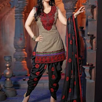 Tantalizing Beige Brown & Black Printed Salwar Kameez - Manjaree - Brands