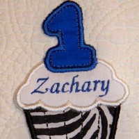 Personalized blue and zebra 1st or 2nd birthday cupcake iron on patch | UniqueEmbroideries - Accessories on ArtFire