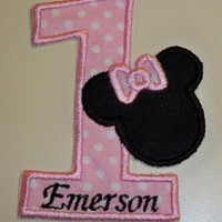 Light pink birthday number one with Minnie iron on applique patch | UniqueEmbroideries - Accessories on ArtFire