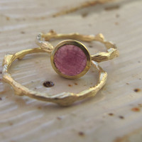 Rose Cut Pink Sapphire Ring in 18k and 14k Gold by SaaraReidsema