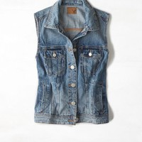 AEO Women's Boyfriend Jean Vest (Medium Rinse)