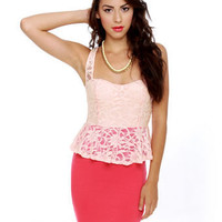 Classic Coral Red Dress - Lace Dress - Peplum Dress - $37.50