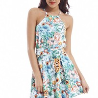 Cut In Neck Jungle Printed Skater Dress