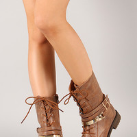 Club-58 Metallic Skull Lace Up Mid Calf Boot