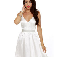 Sexy Backless Dress - White Dress - Satin Dress - $48.00