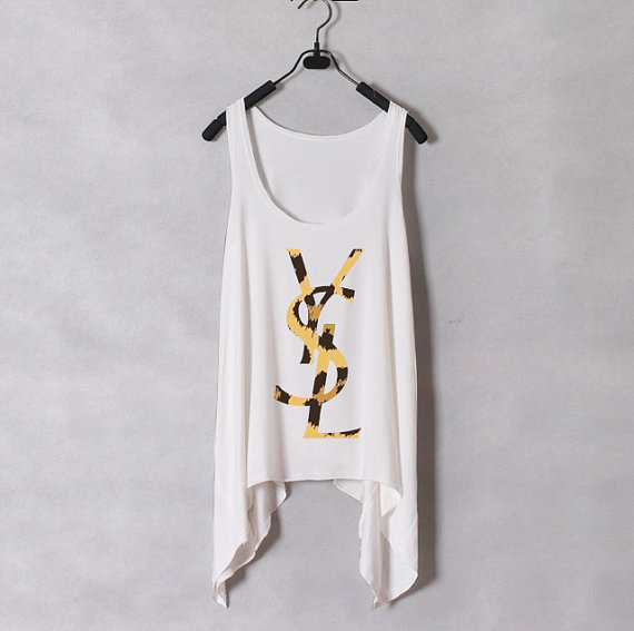 Women Tank Top  Leopard YSL  White  Sides Drop  by zzzAfternoon