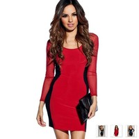 Beautiful Celebrity Style Deep U Neck Women Sexy Dress
