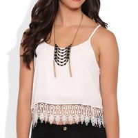 Flowy Tank with Spaghetti Straps and Crochet Hem