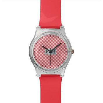 Red checkered Watch with (or without) Initials