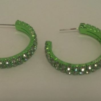 Rhinestone Hoops- Lime