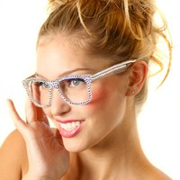 Swarovski Crystal Reader Glasses - White with Clear Crystals - Designed & Made in the USA