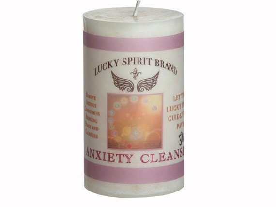 Anxiety Cleanse Spell Candle 2x3 Pillar by purplesuncandles