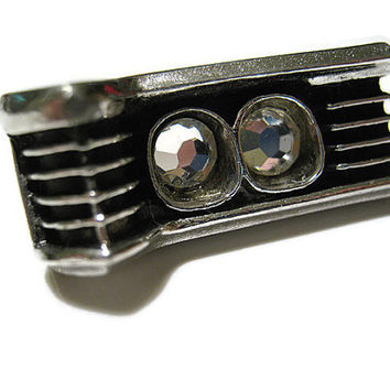 Small Silver Tone and Black Vintage Car Grill Rhinestone Tie Clip Bar Clasp