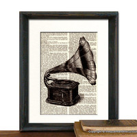 Victrola Art Print - Mothers Day Fathers Day Graduation Gift Present - Home Office Decor MATTED | Luulla