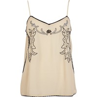 River Island Womens Beige floral embroidered cami top