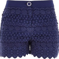 Girls blue lace layered shorts