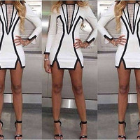 Women Spring & Summer White Geometric Sexy Party Pencil Bodycon Bandage Dress
