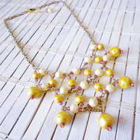 Summer Sunset Goldenrod Yellow & Magenta Pink Beaded Bib Necklace