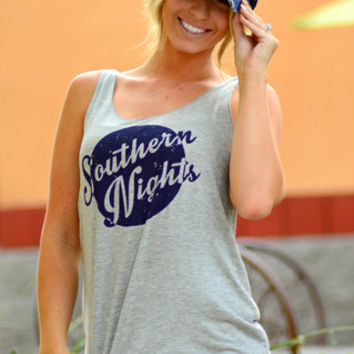SOUTHERN NIGHTS TANK TOP IN HEATHER GREY